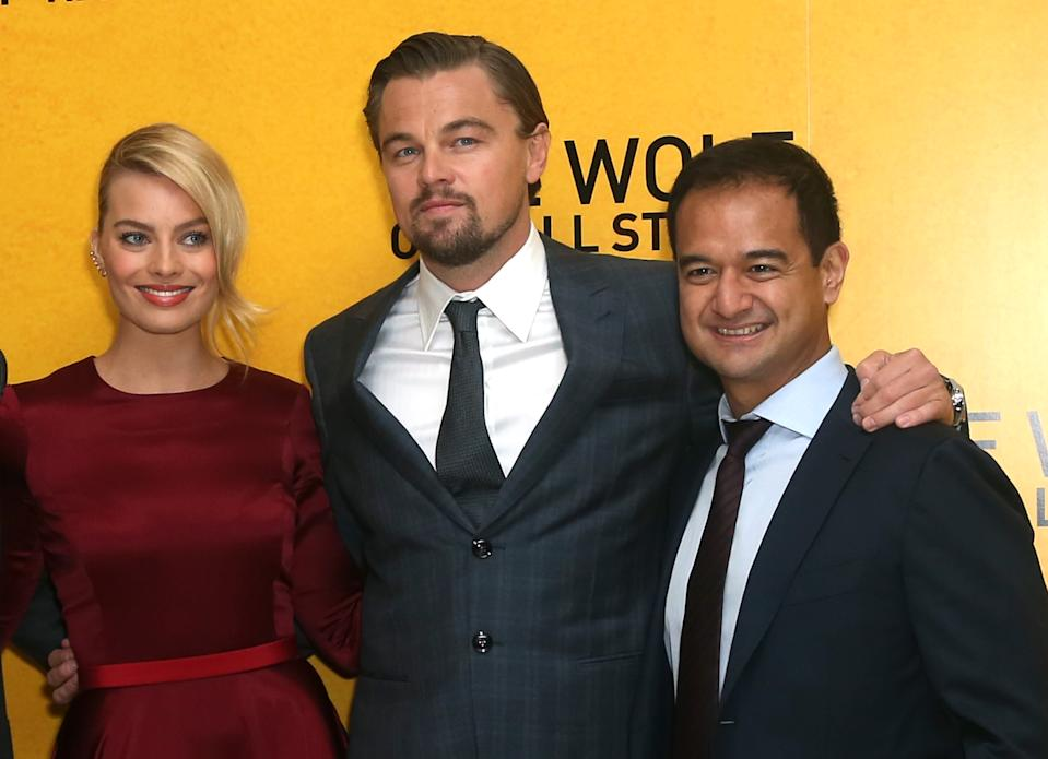 Margot Robbie, Leonardo DiCaprio and Riza Aziz attend The Wolf Of Wall Street UK Premiere at the Odeon Leicester Square, on Thursday Jan. 9, 2014, in London. (Photo by Jon Furniss Photography/Invision/AP Images)