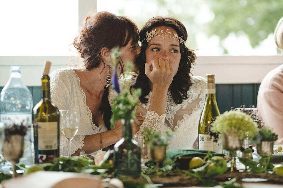 """<p>Between enjoying their special day and making sure that guests are having a good time, the newlyweds have enough to worry about. """"If something's gone wrong during the wedding, do not point it out to the couple or their immediate family members,"""" says Josh Spiegel, Creative Director and President of <a href=""""http://birchevents.com/"""" rel=""""nofollow noopener"""" target=""""_blank"""" data-ylk=""""slk:Birch Event Design"""" class=""""link rapid-noclick-resp"""">Birch Event Design</a>. """"You don't want to add any stress or frustration during the big day."""" If you can't stop thinking about the issue at hand, notify the venue staff.</p>"""