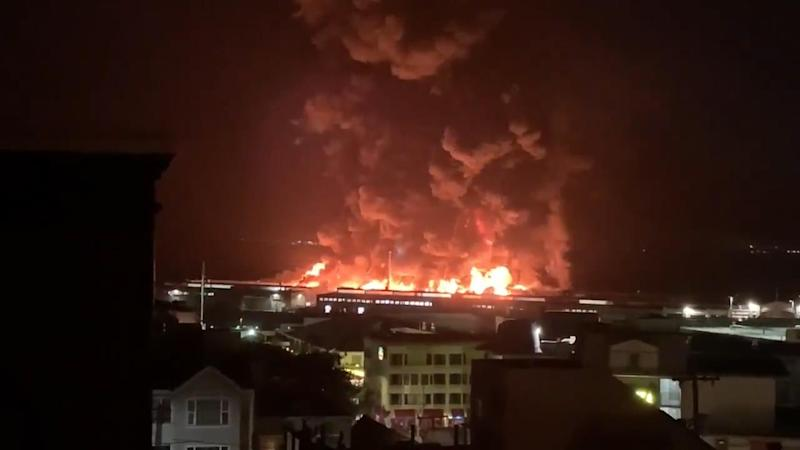 Four-alarm fire at San Francisco's historic Pier 45; WWII ship is saved