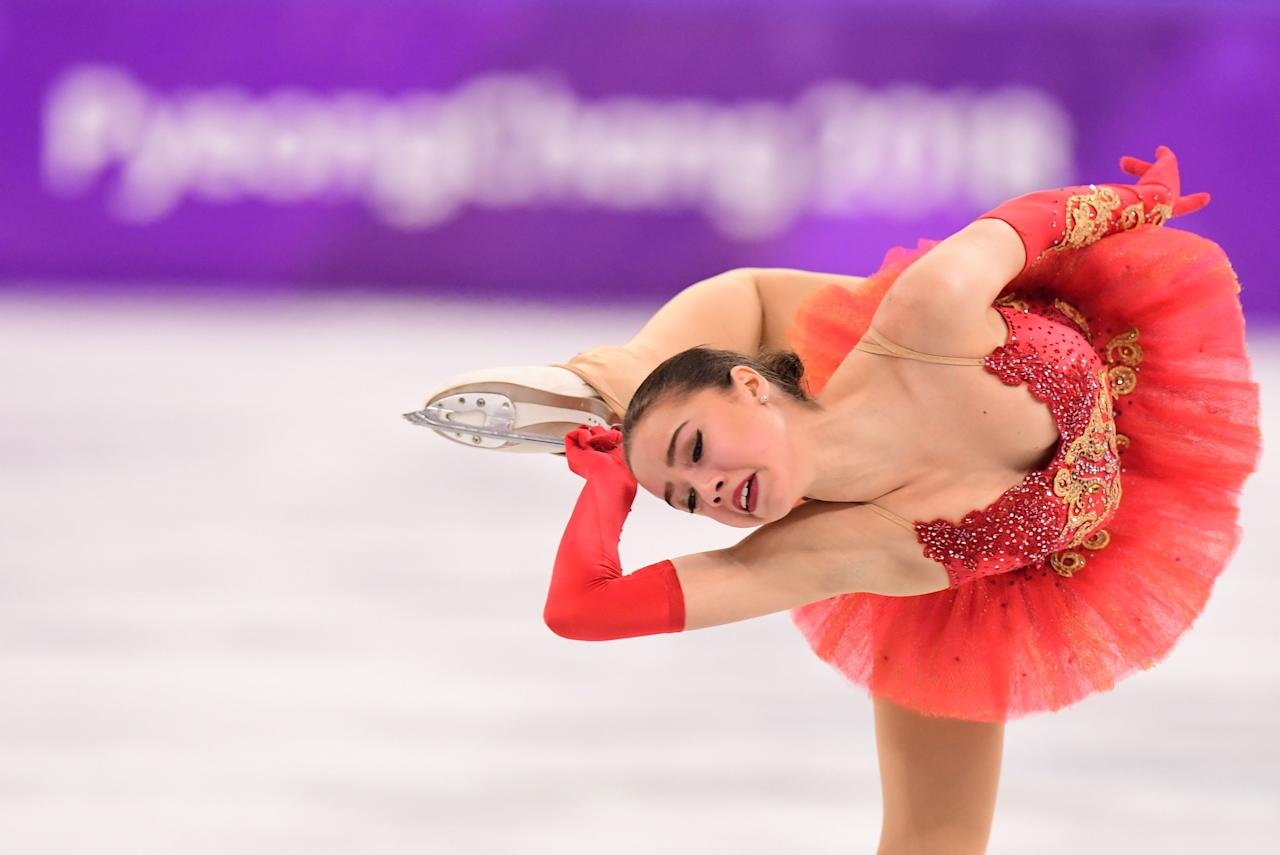 <p>Russia's Alina Zagitova competes in the Women's Single Skating Free Skating event at the PyeongChang 2018 Winter Olympic Games in South Korea on February 23, 2018.<br /> (Photo credit should read Roberto Schmidt/AFP/Getty Images) </p>