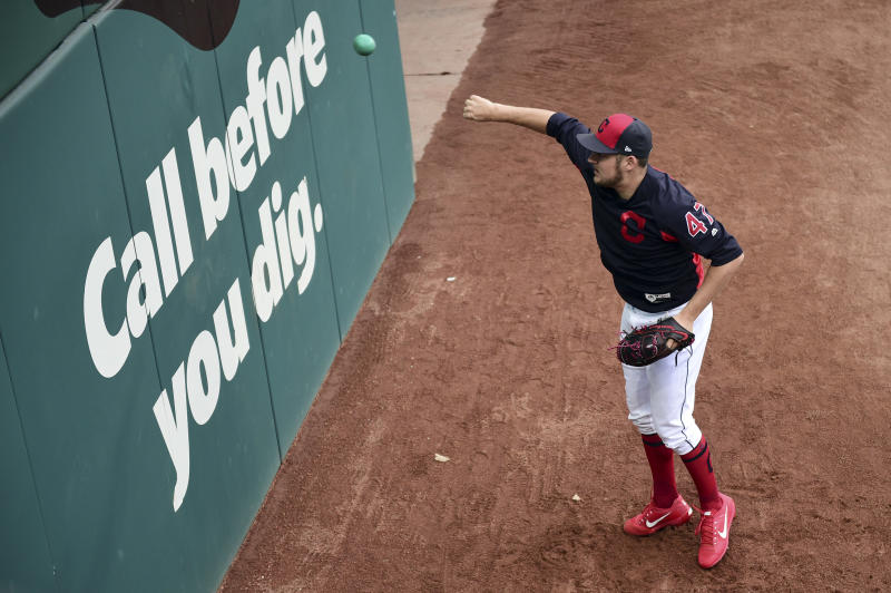 Cleveland Indians starting pitcher Trevor Bauer throws a ball against the wall during a team workout, Wednesday, Oct. 4, 2017, in Cleveland. The Indians are scheduled play the New York Yankees in Game 1 of an ALDS on Thursday. (AP Photo/David Dermer)