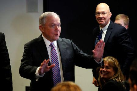 Sessions delivers remarks on the U.S. system for asylum-seekers at the Executive Office for Immigration Review in Falls Church, Virginia