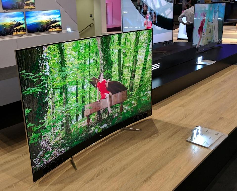 The TCL XESS tops out at 85 inches and sports wood and copper accents for those high-class entertainment centers.