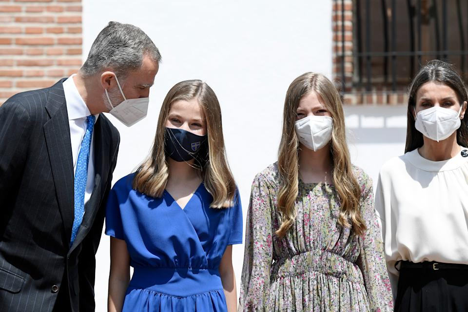 MADRID, SPAIN - MAY 28: King Felipe VI of Spain, Princess Leonor, Princess Sofia and Queen Letizia of Spain leave after the confirmation of Princess Leonor at 'Asuncion de Nuestra Señora' church in the municipality of Aravaca on May 28, 2021 in Madrid, Spain. (Photo by Carlos Alvarez/Getty Images)
