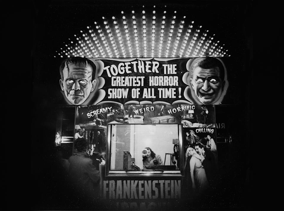 A theater ticket booth advertises Frankenstein and Dracula in 'The Greatest Horror Show of All Time', 1940. (Photo by Weegee(Arthur Fellig)/International Center of Photography/Getty Images)