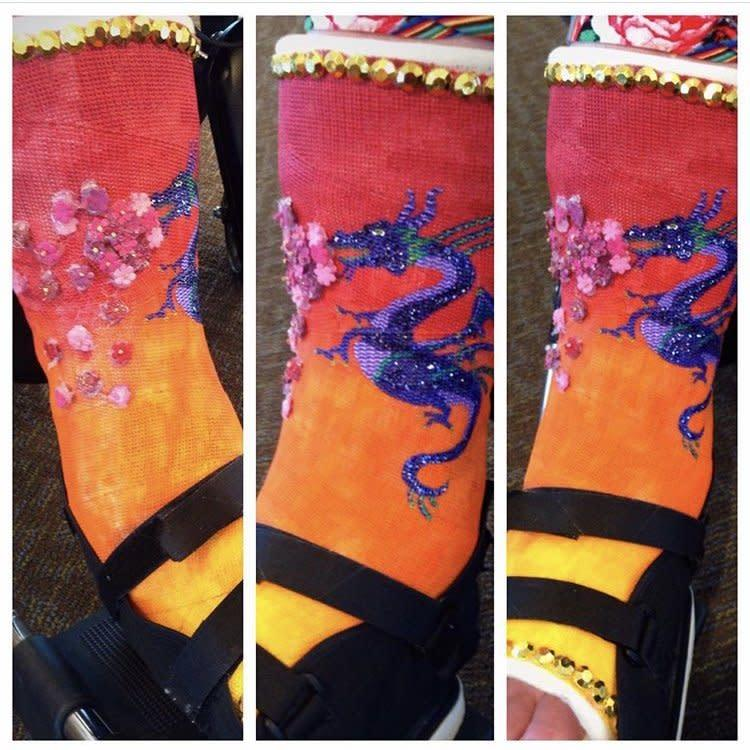 Cast painted red with dragons.