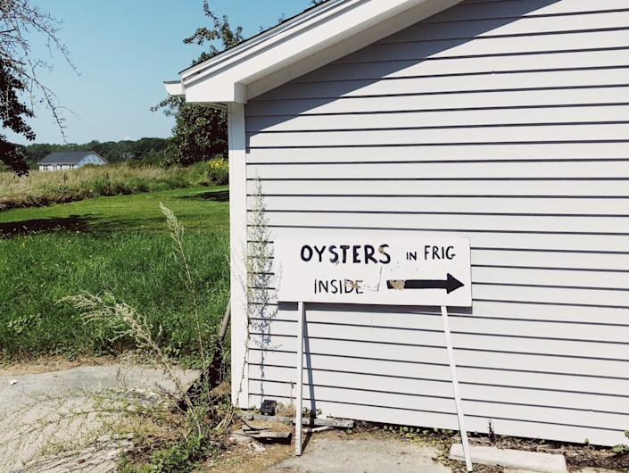 """An outdoor shot of a white house with a sign that reads """"oysters in frig inside"""""""