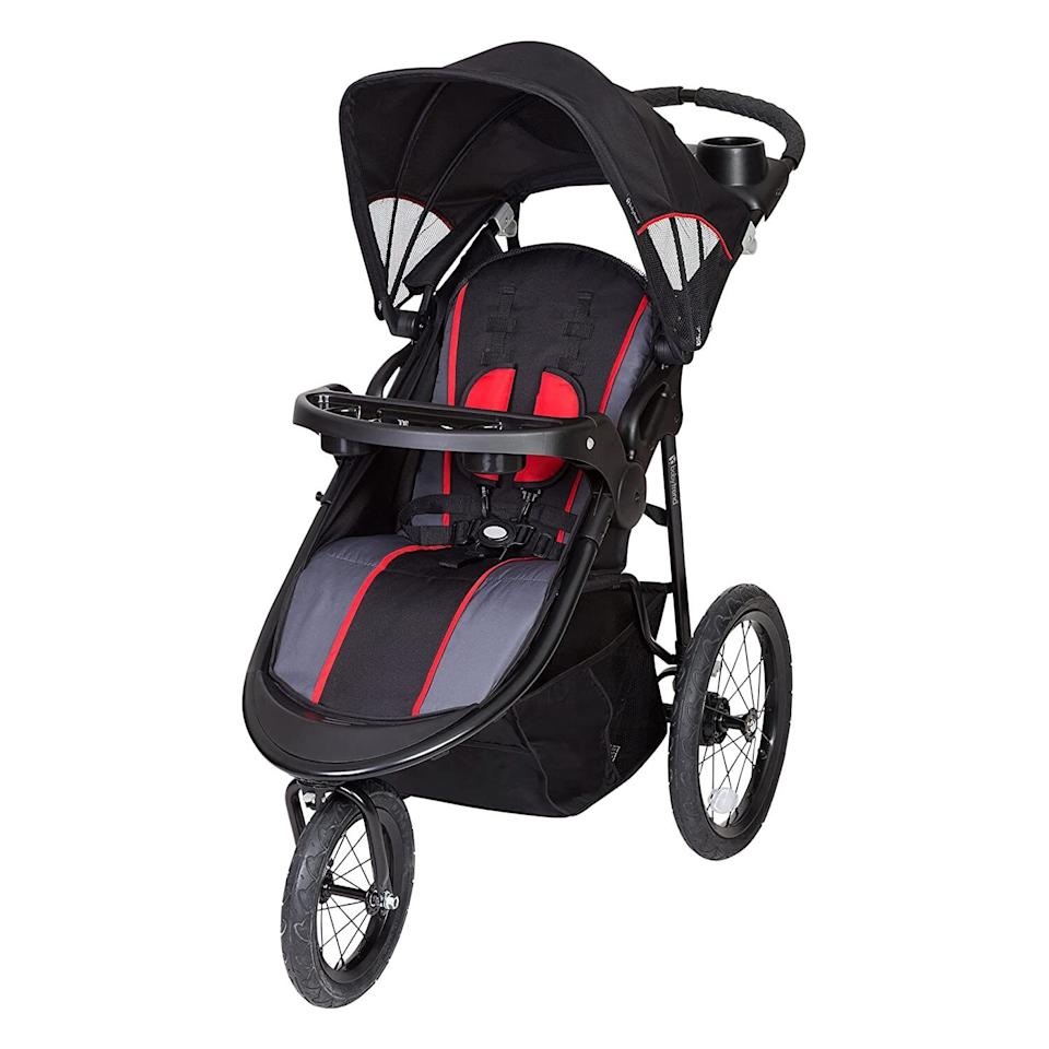 """Take your little one for a walk or run with this stroller that comes with a multiposition seat, a lockable front swivel wheel and a spacious storage basket.<br /><br /><strong>Promising review:</strong>""""Love this stroller! It is so easy to push, even on gravel and off road terrain. <strong>We jog with this about 3-4 miles a day and it is great. It provides a smooth ride. We also LOVE that already came with the snack tray for baby.</strong> My son loves to eat snacks and rest his feet on it while we are on walks or runs."""" —<a href=""""https://amzn.to/3w1BKRz"""" target=""""_blank"""" rel=""""nofollow noopener noreferrer"""" data-skimlinks-tracking=""""5189597"""" data-vars-affiliate=""""Amazon"""" data-vars-href=""""https://www.amazon.com/gp/customer-reviews/R3II7LUGYWT3IS?tag=bfheather-20&ascsubtag=5189597%2C4%2C44%2Cmobile_web%2C0%2C0%2C160727"""" data-vars-keywords=""""cleaning,fast fashion"""" data-vars-link-id=""""160727"""" data-vars-price="""""""" data-vars-product-id=""""15996770"""" data-vars-retailers=""""Amazon"""">Gilles2016<br /><br /></a><a href=""""https://amzn.to/2SCLFOY"""" target=""""_blank"""" rel=""""noopener noreferrer""""><strong>Get it from Amazon for$109.99+(available in three colors).</strong></a>"""
