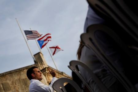 FILE PHOTO: Governor of Puerto Rico Ricardo Rossello delivers remarks during a commemorative event organized by the local government a year after Hurricane Maria devastated Puerto Rico, in San Juan, Puerto Rico