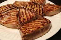 "<p>Wasabi mayo is the perfect, spicy topper to tender, juicy tuna steaks.</p><p>Get the recipe from <a href=""https://www.delish.com/cooking/recipe-ideas/recipes/a42849/lideys-grilled-tuna-steaks-with-wasabi-mayo/"" rel=""nofollow noopener"" target=""_blank"" data-ylk=""slk:Delish"" class=""link rapid-noclick-resp"">Delish</a>.</p>"