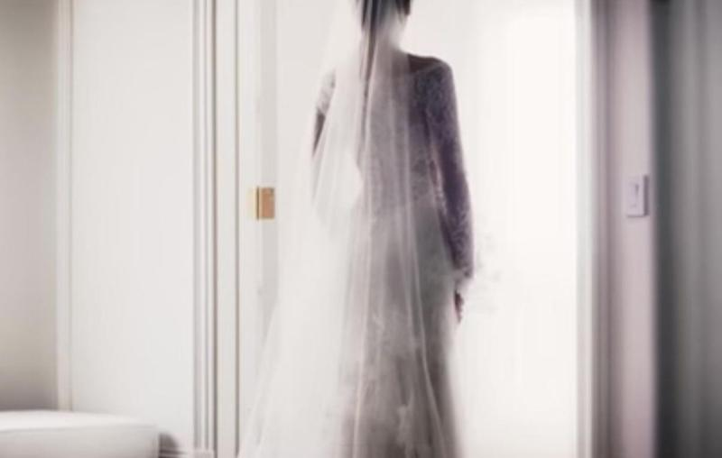 Fans can see Anastasia in a long white lace wedding gown to wed her lover. Source: Universal Pictures