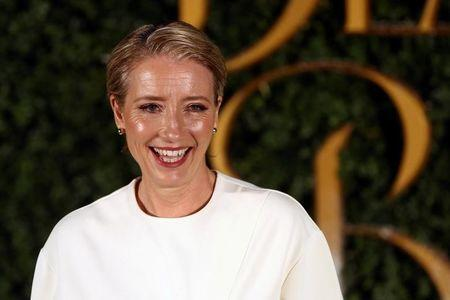 FILE PHOTO: Actor Emma Thompson poses for photographers at media event for the film Beauty and the Beast in London