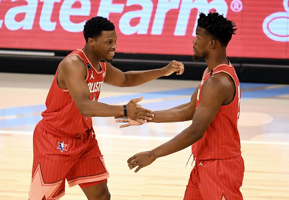 Kyle Lowry and Jimmy Butler last were teammates at the 2020 NBA All-Star Game. (Stacy Revere/Getty Images)