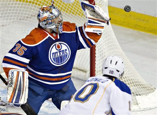 St. Louis Blues' Andy McDonald, 10, is stopped by Edmonton Oilers goalie Nikolai Khabibulin during first period NHL hockey action in Edmonton, Alberta, on Saturday March 23, 2013. (AP Photo/The Canadian Press, Jason Franson)