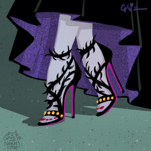 Maleficent in a fancy Balenciaga-inspired thorn sandals.