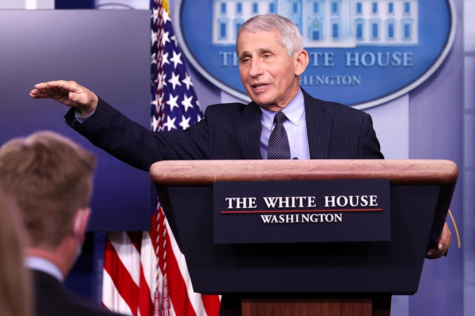 NIH National Institute of Allergy and Infectious Diseases Director Anthony Fauci addresses the daily press briefing at the White House in Washington, U.S. January 21, 2021.  REUTERS/Jonathan Ernst