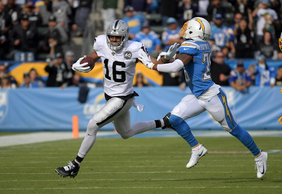Raiders receiver Tyrell Williams is defended by Chargers cornerback Casey Hayward in Dec. 22, 2019 in Carson, Calif.