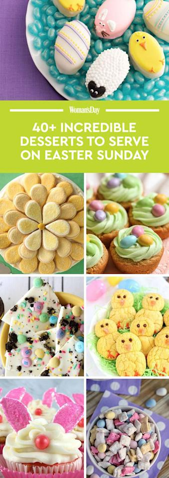 "<p>Save these Easter dessert recipes for later by pinning this image, and follow <em>Woman's Day </em>on <a rel=""nofollow"" href=""https://www.pinterest.com/womansday/"">Pinterest</a> for more Easter inspiration. </p>"