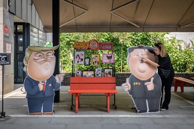 Cut-out boards of President Donald Trump and North Korean leader Kim Jong Un in Seoul (AFP Photo/Ed JONES)