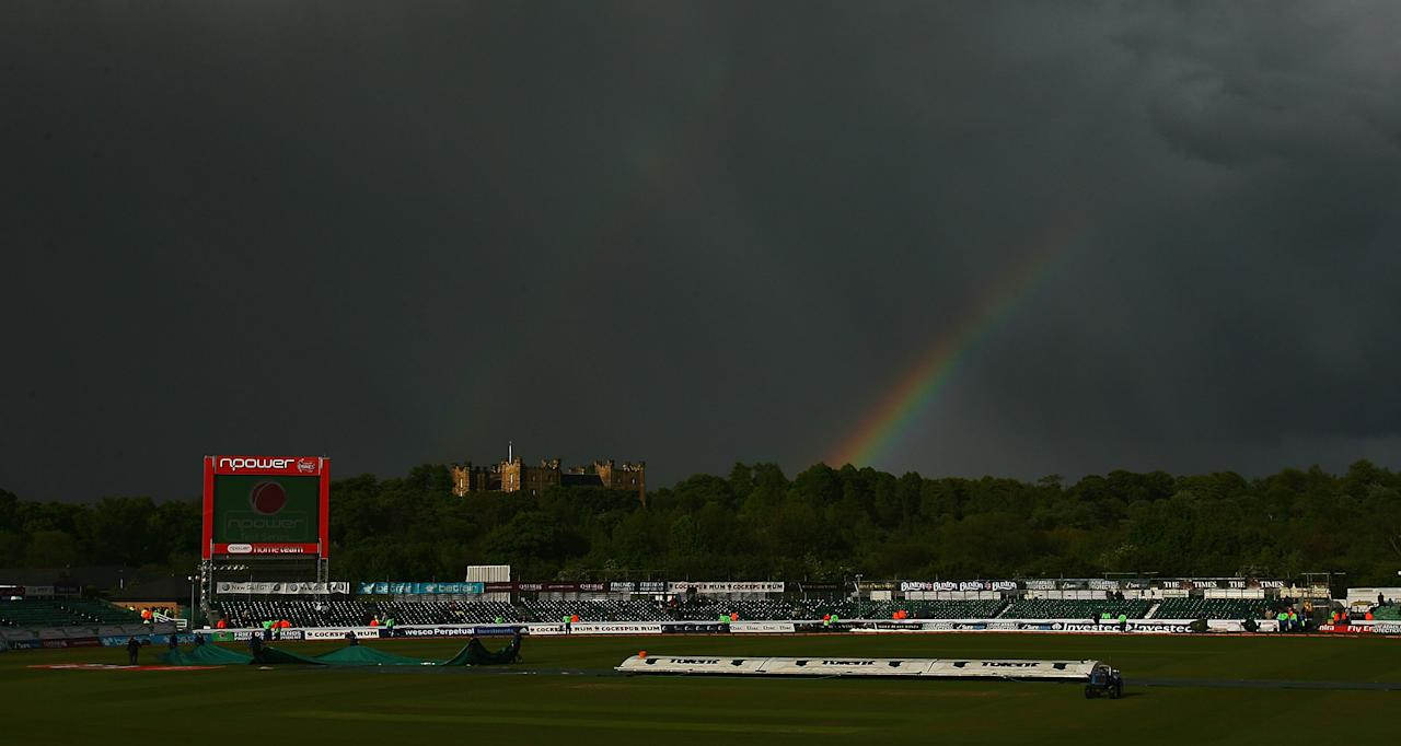 CHESTER-LE-STREET, ENGLAND - MAY 16:  A rainbow arcs  as the weather disturbes play during day three of the 2nd npower Test between England and West Indies at The Riverside on May 16, 2009 in Chester-le-Street, England.  (Photo by Matthew Lewis/Getty Images)