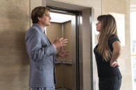 """This image released by Warner Bros. Entertainment shows Pedro Pascal, left, with director Patty Jenkins in a scene from """"Wonder Woman 1984."""" (Clay Enos/Warner Bros. via AP)"""