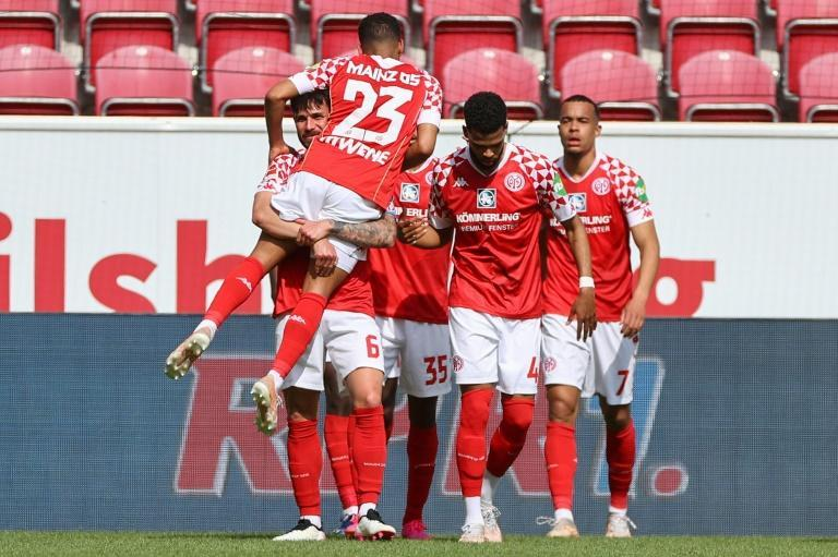 Mainz celebrate going 2-0 up at home to Bayern Munich on Saturday
