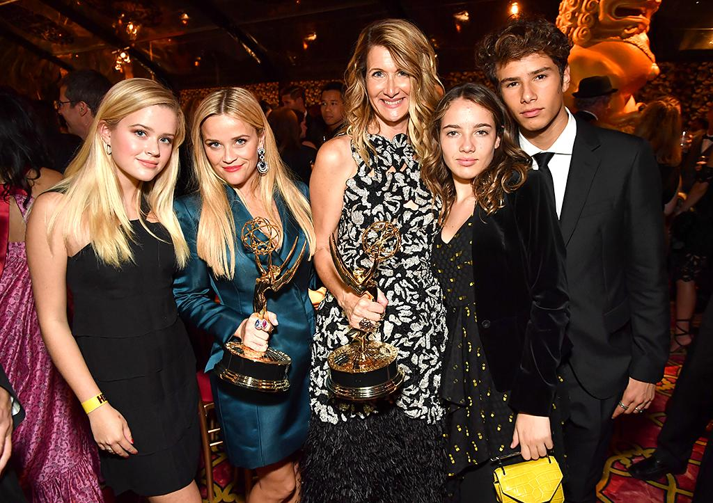 <p>Ava Phillippe has been with her mom, Reese, on the red carpet several times lately, and she was by her side again to celebrate Reese's series, <i>Big Little Lies</i>, and its impressive five wins on Sunday. At the after-party the two spent some time with Reese's co-star on the show Laura Dern, who brought along daughter Ellery, 12, and 16-year-old son Jaya, whom she shares with ex Ben Harper. (Photo: Jeff Kravitz/FilmMagic) </p>
