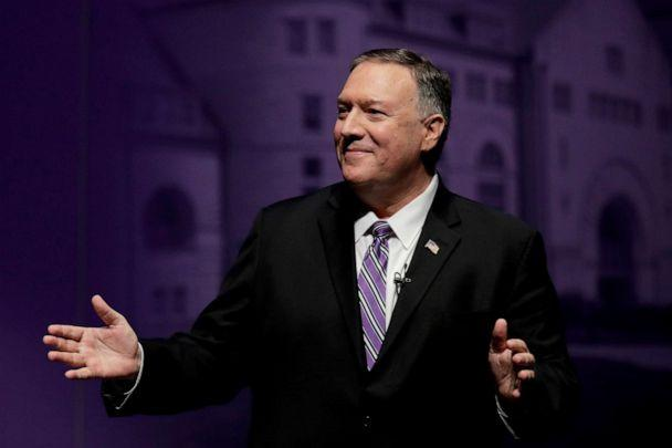 PHOTO: Secretary of State Mike Pompeo answers a question from an audience member after giving a speech at the London Lecture series at Kansas State University Friday, Sept. 6, 2019, in Manhattan, Kan. (Charlie Riedel/AP Photo)