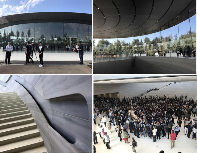 The Steve Jobs Theater is a gigantic carbon-fiber disc (the roof), supported entirely by curved glass panes. The actual theater is underground.