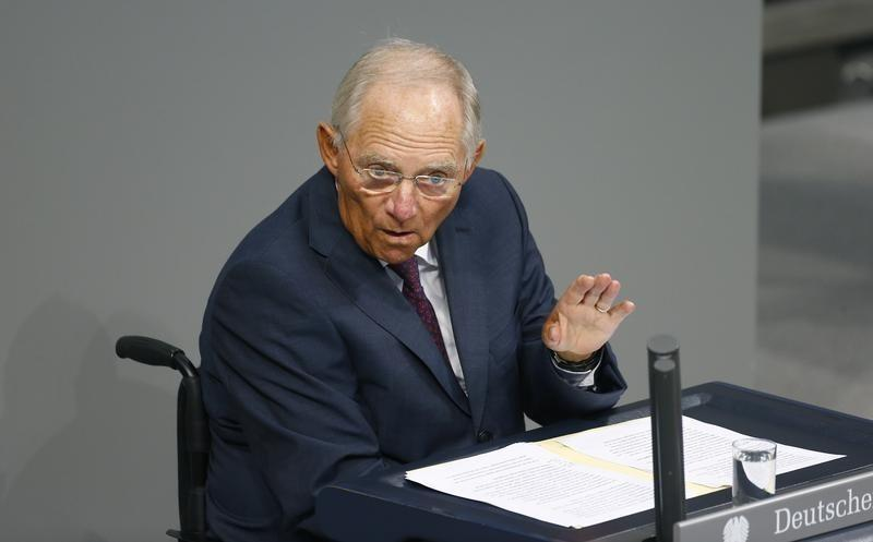 German Finance Minister Schaeuble addresses session of Bundestag prior to vote on Greece's third bailout programme