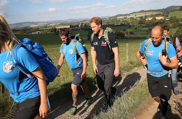 Prince Harry joining Walking with the Wounded's Walk of Britain in 2015. (Getty Images)