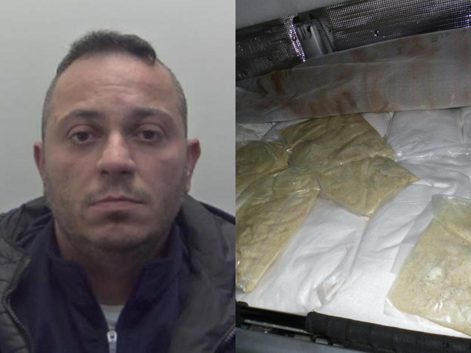 Alessio Giovannetti, 36, stashed the drugs packages in his lorry mattress. (SWNS)