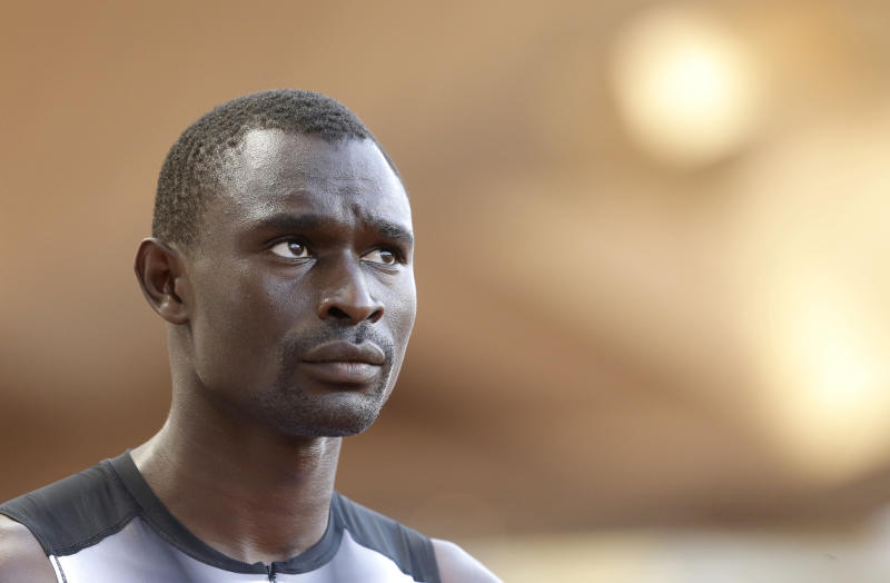 Kenyan athlete David Rushida takes part in the 800m men race at the Herculis International Athletics Meeting, at the Louis II Stadium in Monaco, Friday, July 18, 2014. (AP Photo/Lionel Cironneau)