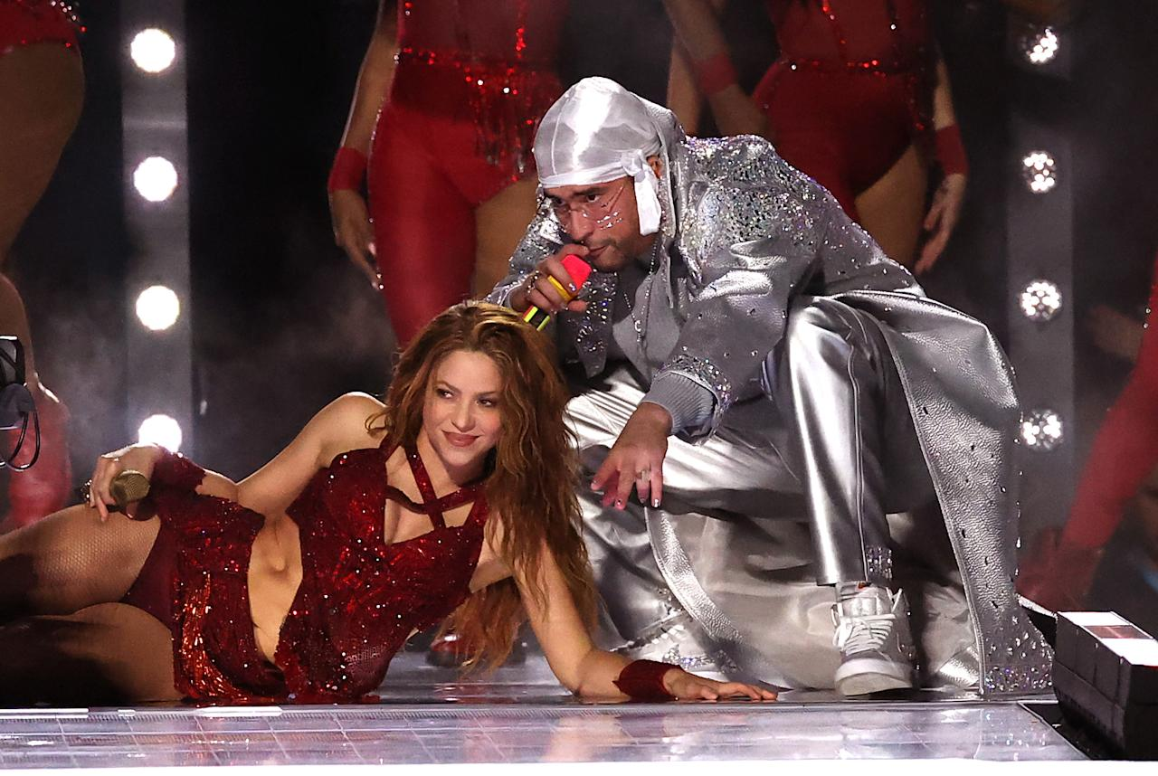 Colombian singer Shakira and Puerto Rican singer Bad Bunny perform during the Pepsi Super Bowl LIV Halftime Show at Hard Rock Stadium on February 02, 2020 in Miami, Florida. (Photo by Al Bello/Getty Images)