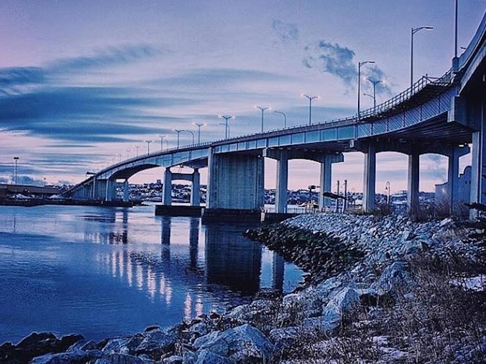The eastbound lanes of the Saint John Harbour Bridge had been scheduled to open in mid-October.   (Submitted by Bryn Robinson - image credit)