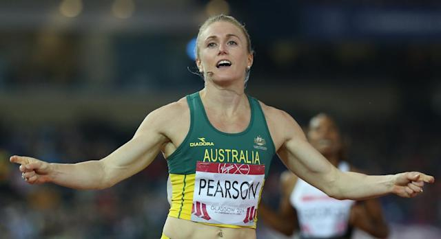 Sally Pearson of Australia reacts after winning her heat of the women's 100 meter hurdles at Hampden Park Stadium during the Commonwealth Games 2014 in Glasgow, Scotland, Thursday July 31, 2014. (AP Photo/Peter Morrison)