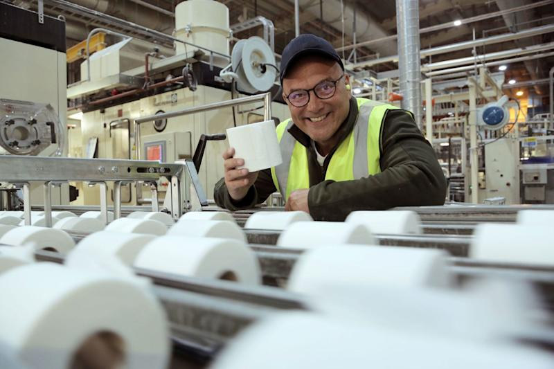 Gregg Wallace visits a toilet roll factory (BBC/Voltage TV)