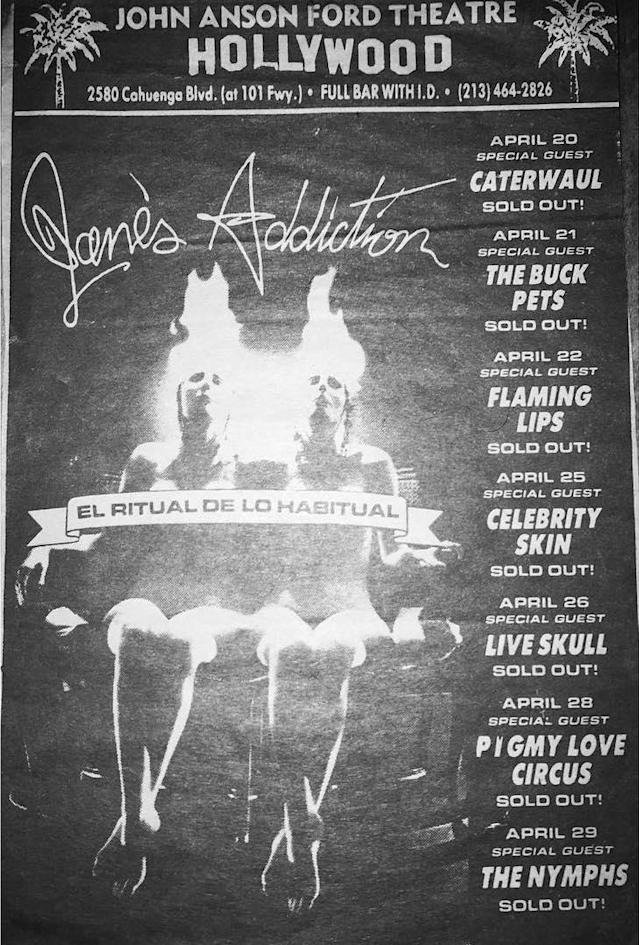 An advertisement for Jane's Addiction's famous 1989 residency at the John Anson Ford Amphitheatre in L.A. (Photo: janesaddiction.org)