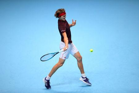 Tennis - ATP World Tour Finals - The O2 Arena, London, Britain - November 14, 2017 Germany's Alexander Zverev in action during his group stage match against Switzerland's Roger Federer REUTERS/Hannah McKay