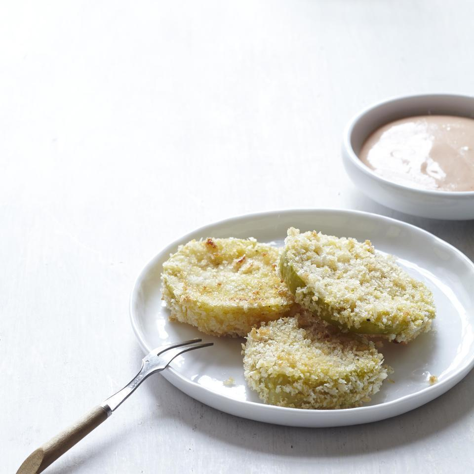 <p>This easy fried tomatillo recipe is a healthier twist on the crispy Southern favorite--fried green tomatoes. These oven-fried tomatillos make a tangy, dunkable appetizer or a decadent topping for a burger.</p>