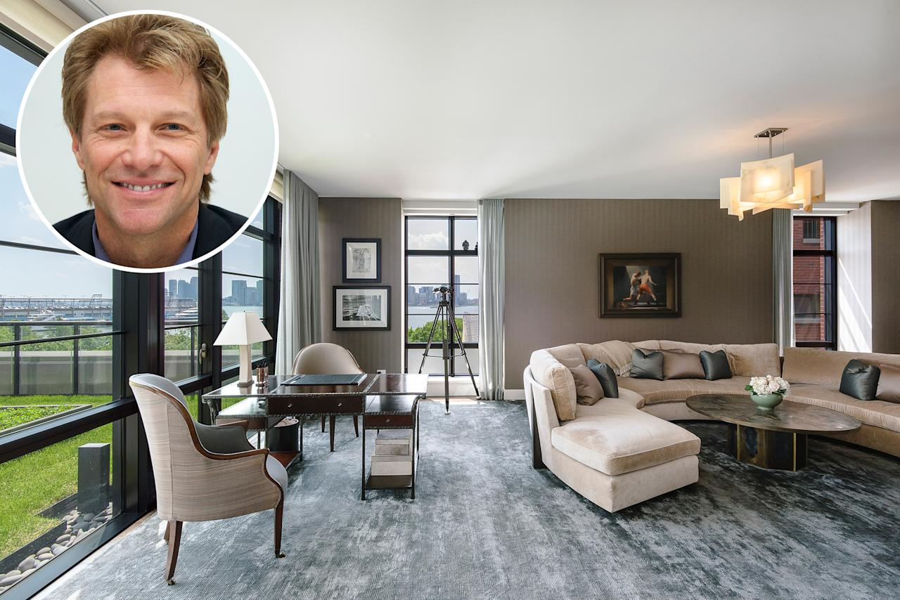 """<p>Jon Bon Jovi is letting go of his glassy condo in Manhattan's West Village. The four-bedroom, four-and-a-half bath home is listed for $17.5 million with the Robby Browne Team of <a rel=""""nofollow"""" href=""""https://www.corcoran.com/nyc/Listings/Display/5162478"""">The Corcoran Group</a>.</p>"""
