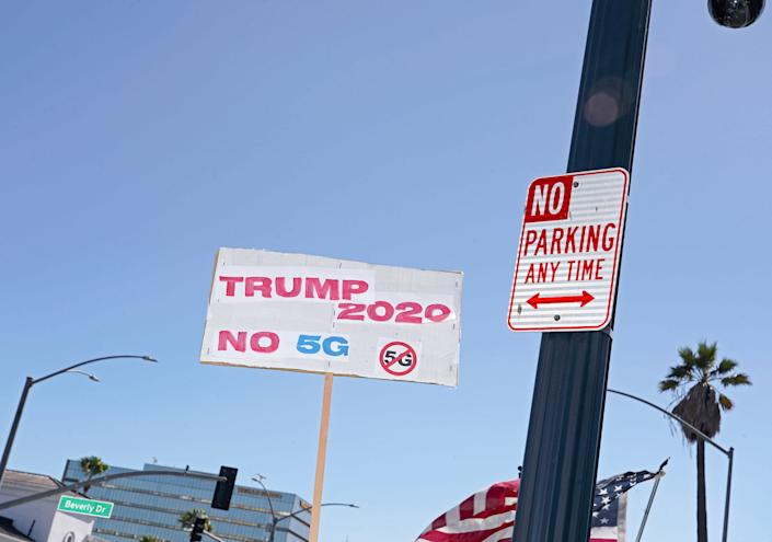 """A anti 5G sign at a pro-Trump rally in Beverly Hills, Calif., Aug. 8, 2020. <span class=""""copyright"""">Jamie Lee Curtis Taete</span>"""