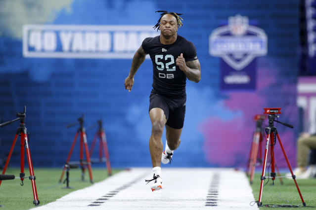 Alabama defensive back Xavier McKinney runs the 40-yard dash during the NFL scouting combine at Lucas Oil Stadium on Feb. 29, 2020 in Indianapolis, Indiana. (Photo by Joe Robbins/Getty Images)