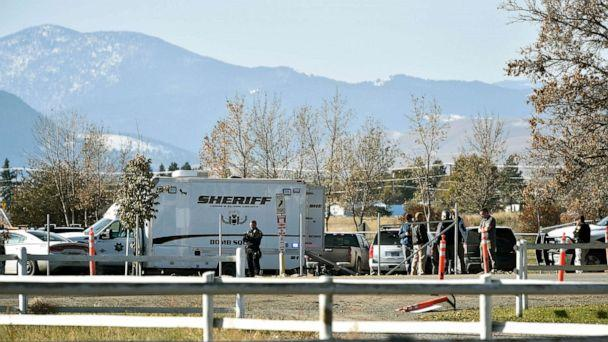 PHOTO: The Lewis and Clark County bomb squad works the scene at Rossiter Elementary school Oct. 15, 2019, after an improvised explosive device detonated on the school playground, in Helena, Mont. (Thom Bridge/Independent Record via AP)