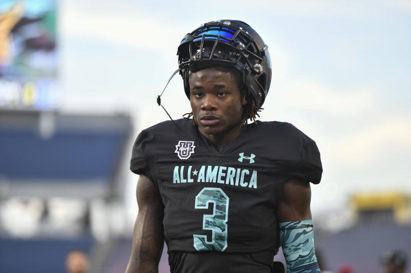 ORLANDO, FL - JANUARY 02: Team Pressure running back Zachary Evans (3) prior to the Under Armour All-America game between Team Pressure and Team Savage on January 02, 2020, at Camping World Stadium in Orlando, FL. (Photo by Roy K. Miller/Icon Sportswire via Getty Images)