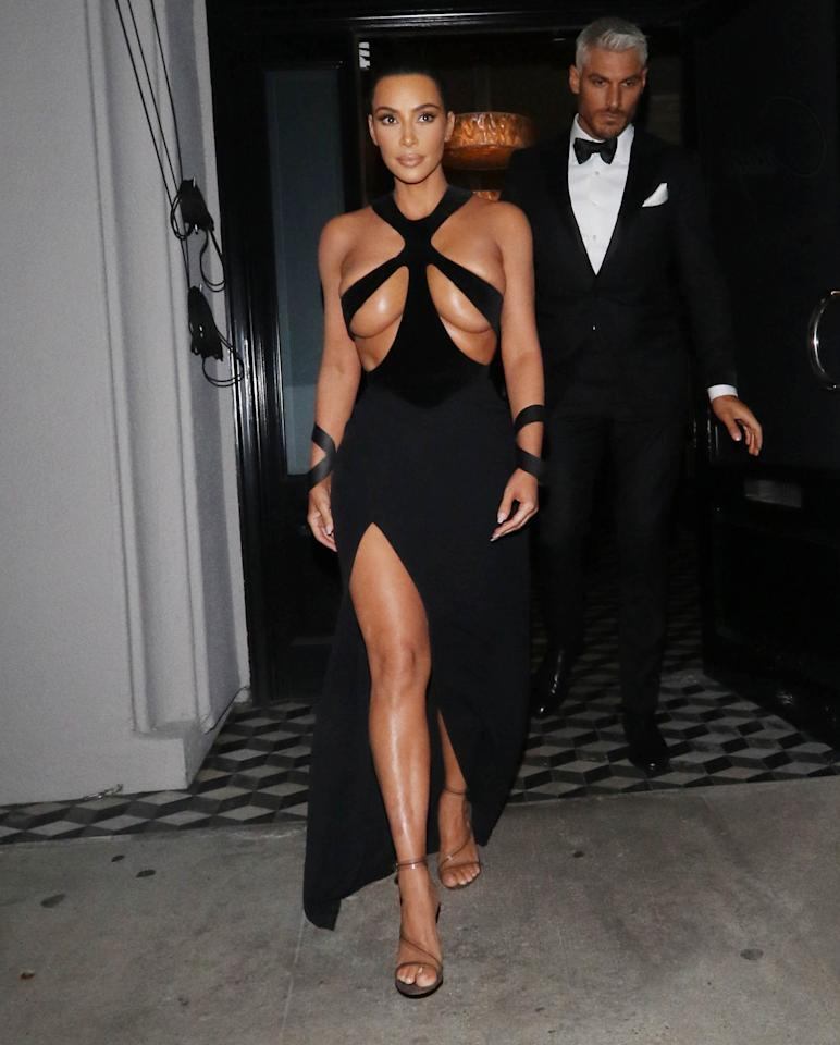 Kim Kardashian in her vintage 1998 Thierry Mugler gown is a good Halloween costume for those on a budget, considering there is much less fabric to work with up top.