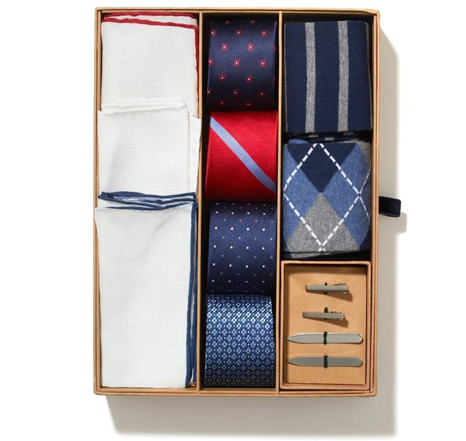 <p>There's no doubt he'll appreciate <span>The Tie Bar Essentials Box</span> ($165), which comes complete with countless accessories to mix and match.</p>