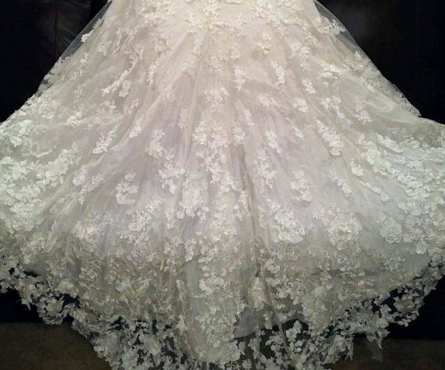 A detail of the Ian Stuart gown and train Aly sent to Amber McGraw. (Photo: Courtesy of Amber McGraw)