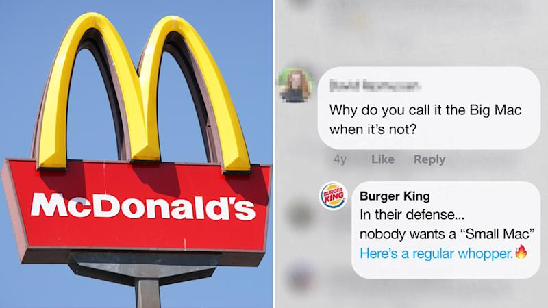 McDonald's sign (left). Burger King responds to McDonald's complains on social media (right)