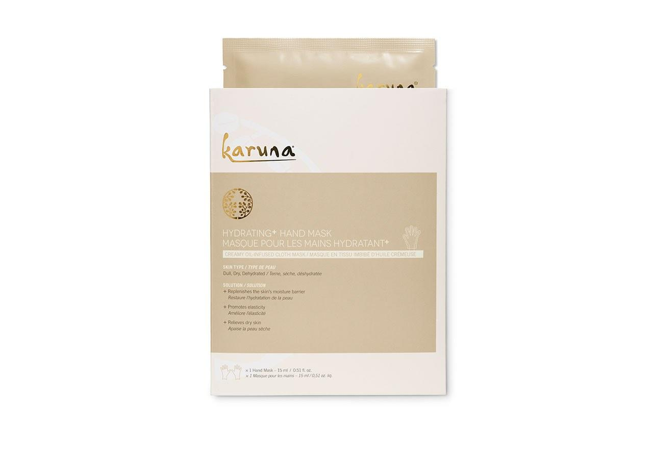 """<p>For an intensive overnight treatment, turn to <a rel=""""nofollow"""" href=""""http://www.ulta.com/single-hydrating-hand-mask?mbid=synd_yahoobeauty&productId=xlsImpprod13261169"""">Karuna Hydrating+ Hand Mask</a> ($9.50), which gives your hands a hybrid serum/mask experience that leaves them silky soft the next morning.</p>"""